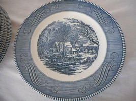 """Lot of 15 Currier & Ives Royal China blue white 10"""" Dinner Plates - $123.74"""