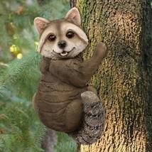 Resin Raccoon Statues Garden Outdoor Tree Deoration Animal Figurines Orn... - $44.98