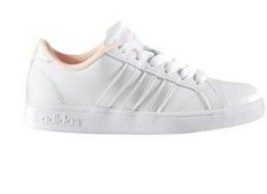 NEW! Adidas women's Baseline Sneakers Lace Up White/Pink #BC0138 SZ 7 - $47.52