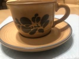 """6 Pfaltzgraff Folk Art* Tan & Blue* 2 1/2"""" Cups & Saucers* #001* - $14.85"""