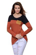 Black Orange Color Block Patch Insert Long Sleeve Blouse Top  - $16.96