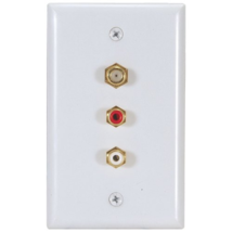 RCA - VH69 -Video Standard Wall Plate With RCA Jacks and Coaxial Cable C... - $6.88