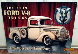 Ford Trucks 1939 V8 Tin Metal Sign Advertising Retro Garage Art Poster - $18.80
