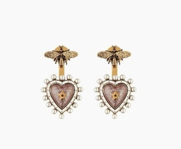 AUTHENTIC Christian Dior 2019 J'ADIOR Pink Heart Dangle Earrings Aged Gold
