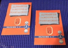 VINTAGE DMC ALPHABETS MOTIFS DOLLFUS-MIEG & C PETIT ALBUMS 1 & 2 MULHOUS... - $25.74