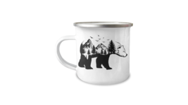 Nature Wilderness Grizzly Bear Silhouette 12oz Camper Mug - $17.95