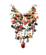 Vintage Waterfall Necklace Bib Design Amber Orange Black Clear Glass Bea... - $9.50