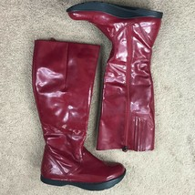 Earth Elite 2 Cherry Red Waterproof Negative Heel Tall Boots Womens Size 7.5 - $49.95