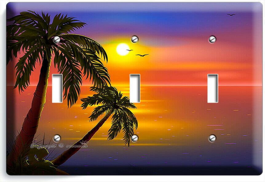 ROMANTIC SUNSET TROPICAL ISLAND PALMS 3 GANG LIGHT SWITCH WALL PLATES ROOM DECOR