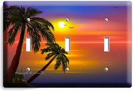 ROMANTIC SUNSET TROPICAL ISLAND PALMS 3 GANG LIGHT SWITCH WALL PLATES RO... - $17.99