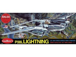 WWII P-38 Lightning Balsa Wood Model Airplane Kit Guillow's Made in USA ... - $98.00