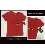 Emily The Strange Cat Kitty SLEEPING WITH CATS T-Shirt Top Sz Juniors M Red - $14.99