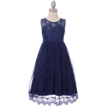 Navy Blue Full Lace Girl Dress Raised Flowers with Rhinestone on the Nec... - $32.99