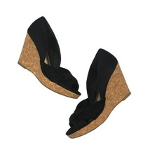 H&M Womens Sz 6 High Heels Cork Solid Black Open Toe Wedge Shoes  - $21.73