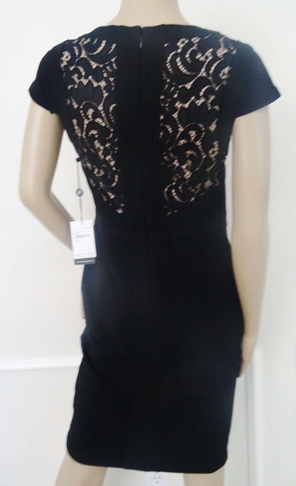 Nwt Adrianna Papell Sleveless Lace  Cocktail Sheath Dress Sz 6 Black Nude $180