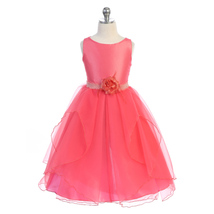 Coral Satin Bodice Multi Layers Organza Skirt Girl Dress with Flower Brooch - $48.00