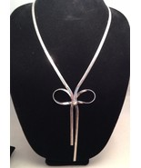 New Cookie Lee Silvertone Bow Necklace - $12.69