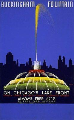 Primary image for 1939 WPA Buckingham Fountain on Chicago's Lake Front - Poster