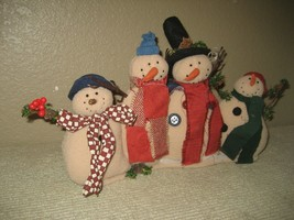 Plush Christmas (4) Beige Snowmen Arms Around Each Other Dressed in Scar... - $7.66