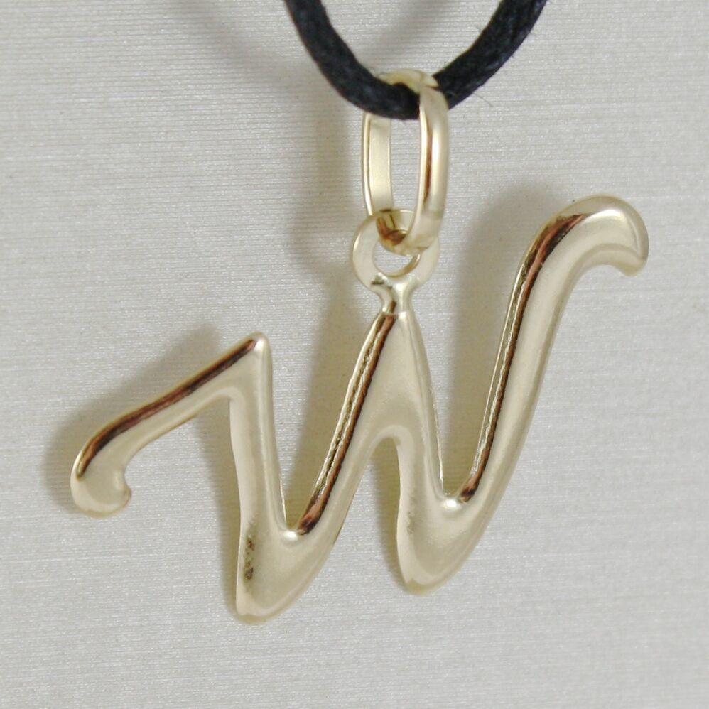 18K YELLOW GOLD PENDANT CHARM INITIAL LETTER W, MADE IN ITALY 0.75 INCHES, 19 MM
