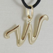 18K YELLOW GOLD PENDANT CHARM INITIAL LETTER W, MADE IN ITALY 0.75 INCHES, 19 MM image 1