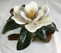 Vintage Large Magnolia Tree Flower Bloom Porcelain Ceramic Figure Figuri... - $24.99