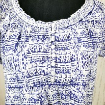 Faded Glory Womens Top Size Small 4-6 Short Sleeve Blouse Blue White - $16.82