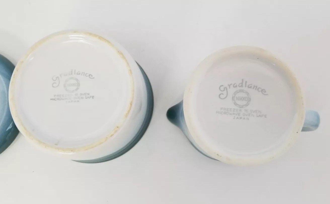 Nikko Gradiance Creamer and Sugar Bowl Azure Leafette Dishwasher Microwave Safe image 9