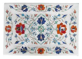 """8""""x6"""" Marble Serving Dish Tray Marquetry Multi Floral Inlay Christmas Gi... - $149.99"""