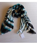 $38.00 Calvin Klein Bauhaus Grid Crepe Wrap / Scarf, OS Jadette (Green) - $12.82
