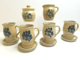 Pfaltzgraff Folk Art 4 Coffee Mugs 4 Cup Trays Cream & Sugar VTG Beige Blue Set - $45.41