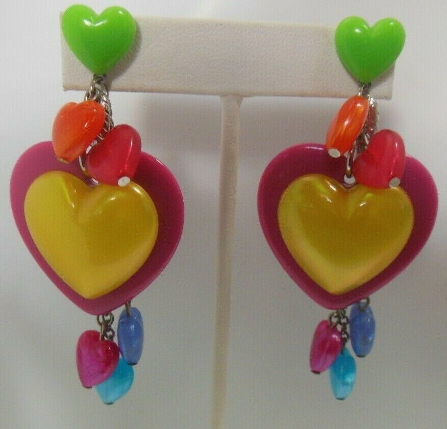Primary image for Vintage Signed Tarina Tarantino Multi-color Lucite Heart Earrings