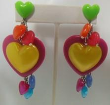 Vintage Signed Tarina Tarantino Multi-color Lucite Heart Earrings  - $55.00