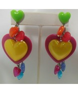 Vintage Signed Tarina Tarantino Multi-color Lucite Heart Earrings  - $55.00