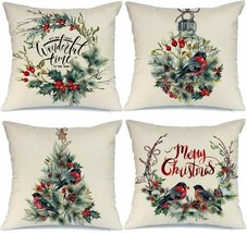 Christmas Pillow Covers 18x18 4-PC Set Throw Pillow Cases Wreath Bird Ru... - $30.63