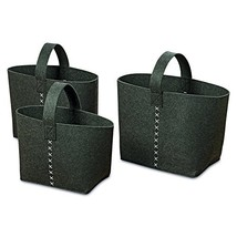 The Cozy Home Felt Storage Baskets In Charcoal, Set of 3, Super Soft And... - $58.27