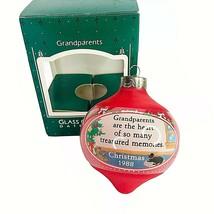 1988 Hallmark Grandparents Glass Christmas Ornament Vintage Round In Box - $4.90