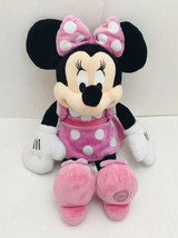 Disney Store Minnie Mouse Stuffed Plush Toy Pink Polka Dot Dress 16'' Au... - $11.88