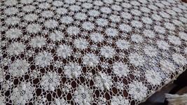 """Vintage Handmade Crochet Ecru color Lace Tablecloth 63"""" x 70"""" Flower net - $217.80"""