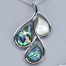 A.T. Storrs Wild Pearle Abalone Shell November Rain Drop w/ Silver Tone Necklace image 2