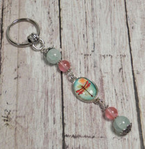 Dragonfly Rose Quartz Aqua Cracked Glass Beaded Handmade Keychain Split ... - $16.48