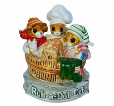 Gorham Music Box Priscilla Hillman Rub a Dub Mice anthropomorphic figuri... - $64.35