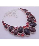 Obsidian-Garnet Silver Overlay Handmade Jewelry Necklace 108 Gr. F-351 - $40.21