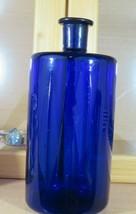 RARE LARGE SIZE ANTIQUE COBALT BLUE OPEN PONTIL APOTHECARY OR LAB BOTTLE - $70.75