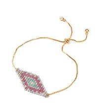 Go2boho Gold Color Snake Chain Slide Bracelets Colorful Crystal Seed Han... - $9.82