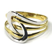 SOLID 18K YELLOW WHITE GOLD BAND RING, WOVEN, TWISTED, ONDULATE MULTI WIRES image 3
