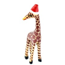Hand Carved & Painted Jacaranda Wood Santa Hat Giraffe Safari Christmas Figurine image 2