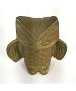 """Vtg Brass Hoot Horned Owl MCM Mid Century Figurine Art 2 1/2"""" Decor - $9.95"""