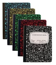 """5-Pack Composition Notebook, 9-3/4"""" x 7-1/2"""", Wide Ruled, 100 Sheet (5-P... - $22.22"""