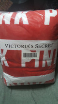 Victoria's Secret PINK Red Logo Print White Sherpa Soft Blanket Throw - $98.99